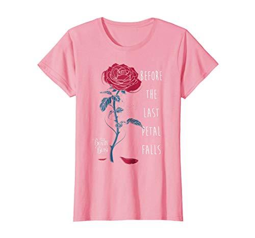 Womens Disney Beauty & The Beast Last Petal Falls Graphic T-Shirt Large Pink