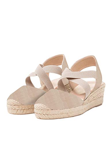 (Womens Espadrille Platform Wedges Cross Strap Closed Toe Mid Heel Sandals)
