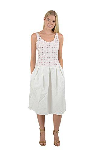 Massimo Alba Womens White Checkered Bodice Sleeveless Juliette Dress M