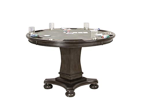 Sunset Trading CR-87711-TB Vegas Dining and Poker Table, 2 in 1 Game, Distressed Gray Wood Birch Dining Room Pedestal