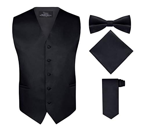 S.H. Churchill & Co. Men's 4 Piece Vest Set, with Bow Tie, Neck Tie & Pocket Hankie - Black, S