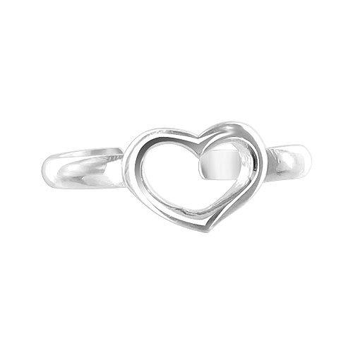 Gem Avenue 925 Sterling Silver Open Heart Toe Ring for (Gem Avenue Toe Ring)