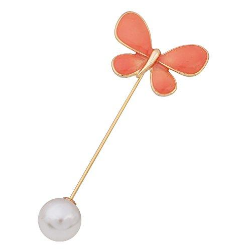 OBONNIE Elegant Enamel Butterfly Lapel Stick Pin Jewelry Hat Scarf Suit Tie Brooch Pin Gold/Silver Tone (Orange)