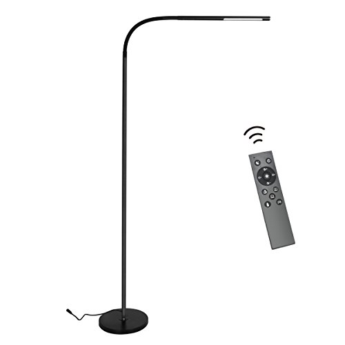 Byingo Remote Control & Touch Sensor Switch LED Reading and Crafting Floor Lamp - Modern Simplicity Style - Stepless Dimming - Fully Adjustable Long Arm - for Sofa/Desk Reading, Living Room, Bedroom