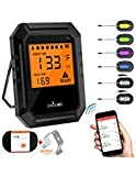 Nobebird Meat Thermometer Bluetooth, BBQ Thermometer Smart Cooking Bluetooth Thermometer with 6 Probe for Smoker Grilling Oven Kitchen,Support iOS & Android,FDA approved (Carrying Case Included)