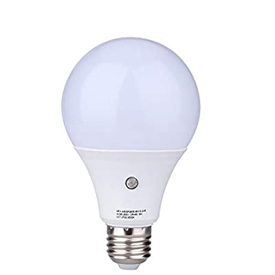 E27/E26 7-Watt 630Lumens LED Dusk-to-Dawn Sensor Light Bulbs Built-in Photosensor Detection Auto Switch Energy Saver Light Indoor/Outdoor Lighting Lamp for Porch Hallway Patio Garage Warm White 3000K