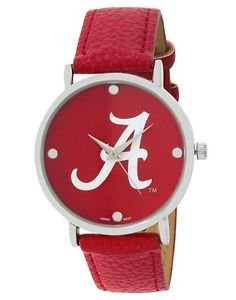 ALABAMA CRIMSON TIDE LADIES WATCH W/ VINYL BAND-UNIVERSITY OF ALABAMA LADIES WATCH