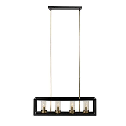 - Globe Electric 65951 Verona 4-Light Chandelier Finish, Antique Brass Accents, Clear Glass Shades, 9
