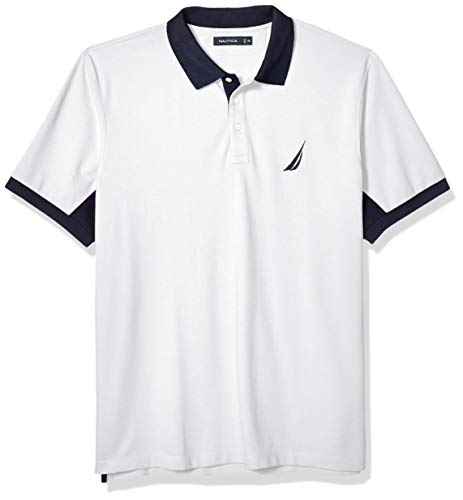 Nautica Men's Classic Fit Short Sleeve Performance Pique Polo Shirt, Bright White, Small ()