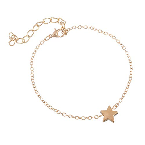 Classic Gold Silver Tone Bracelets Bangles Jewelry for Women Bracelet with Lovely Star Pendant Women A