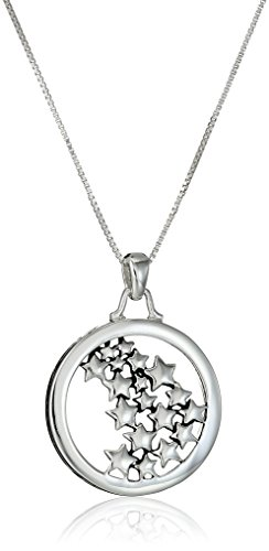 Amazon CollectionColgante de plata de ley con texto'Live Your Own Life Follow Your Own Star', 45,7...