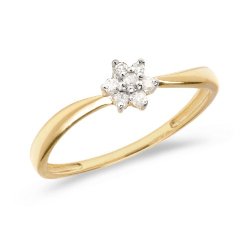 Diamond Flower Stackable Ring - 0.06 Carat (ctw) 14k Yellow Gold Round Diamond Diamond Flower Cluster Engagement Promise Ring - Size 7