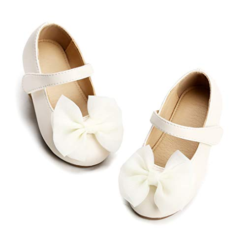 THEE BRON Girl's Toddler/Little Kid Ballet Mary Jane Flat Shoes (13M US Little Kid, G06 White) -