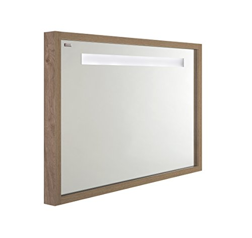 VALENZUELA Tino 32 Inch LED Backlit Bathroom Bathroom Vanity Mirror, Wall Mount, Oak Finish (VELU08080E) by DAX