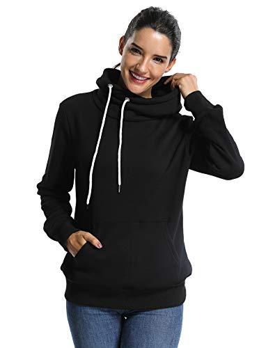 (SEASUM Women's Cowl Neck Casual Long Sleeve Hoodie Fleece Pullover Sweatshirt with Kangaroo Pocket M Black)
