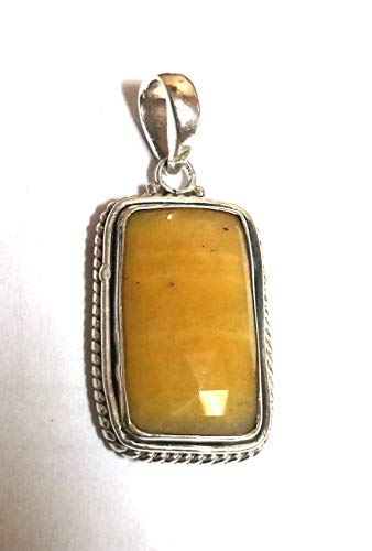 (Natural Yellow Sapphire Pendant, Sapphire Pendant, Gemstone Pendant,925 Sterling Silver Pendant Gift for Her)