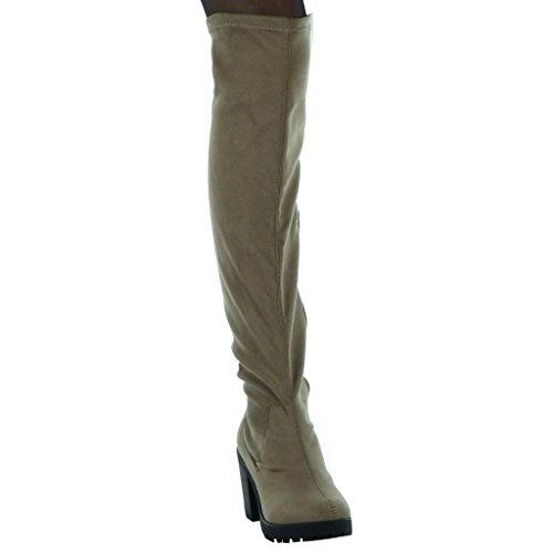Angkorly - Chaussure Mode Cuissarde souple femme Talon haut bloc 8 CM Kaki hNtbBe6