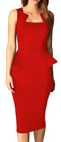 Made2envy Bodycon Midi Peplum Dress with Square Neckline (M, Red) C6150-MR