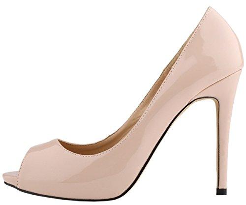 Damen Pumps Kleid On Schuhe High Plattform Hochzeit Heel HooH 3 Pumps Slip Beige pdZqxp