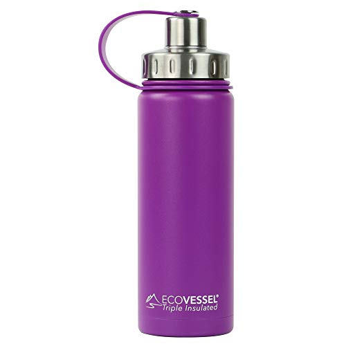 EcoVessel BOULDER TriMax Vacuum Insulated Stainless Steel Water Bottle with Versatile Stainless Steel Top and Tea, Fruit, Ice Strainer - 20 ounce - Purple Haze