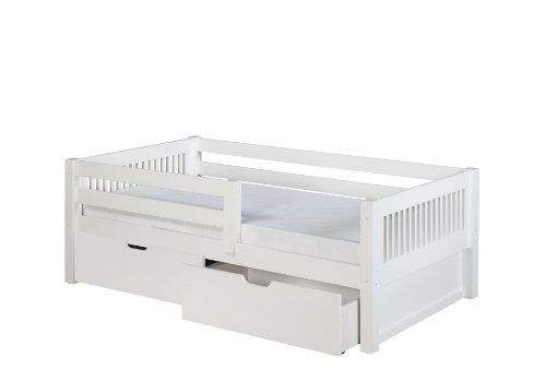 Camaflexi Mission Style Solid Wood Day Bed with Drawers and Front Rail Guard, Twin, White