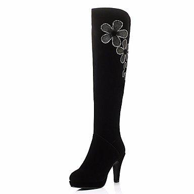 Coeur & M Femmes Chaussures Nubuck En Cuir Hiver Confortable Cheville Bottes Stiletto Bout Rond Bottes Pour Casual Noir