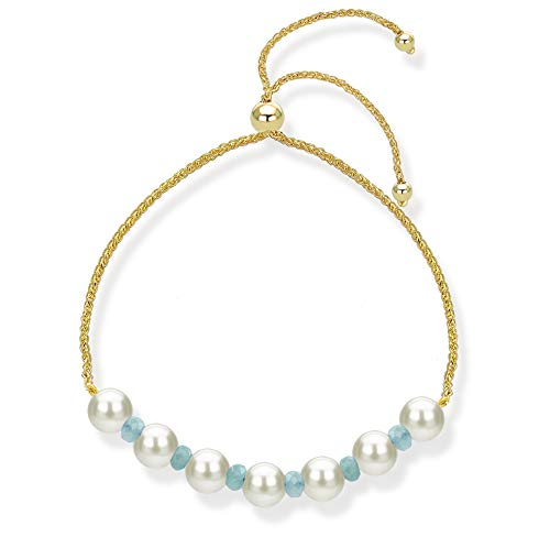 Adjustable Bolo Bracelet with Simulated Blue Aquamarine and Freshwater Cultured Pearl 14k Yellow Gold Bracelet for Women (Aquamarine Bracelet Strand)