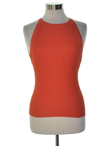 Bar III Womens Ribbed Knit Contrast Trim Halter Top Red XXL