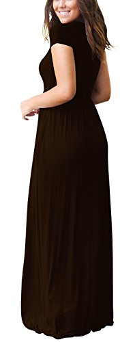 Coffee Womens Solid Freemale Size Sleeve Casual with Plus For Maxi Short Women Crewneck Long Dresses Pockets ZBqqfaAw