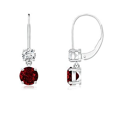 Angara Natural Ruby Leverback Earrings for Women in 14k White Gold