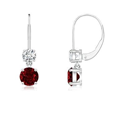 Angara Dangling July Birthstone Ruby Earrings in in White Gold AeqneBAmu