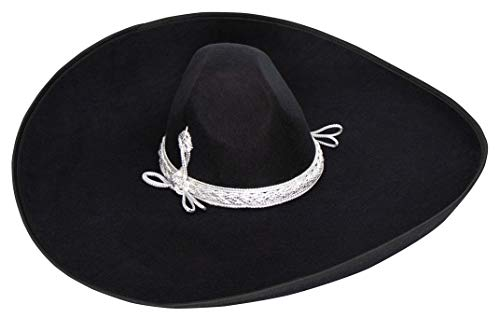 Made in Mexico Sombrero Adult Fancy Mariachi Sombrero Charro Hat, Premium Mexican Hat for Costume Parties, Patriotic Celebrations, 5 de Mayo, 16 de Septiembre (Black, Plain and Silver Tie)]()