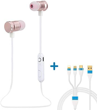 Jave Bluetooth Headphones,Wireless Earbuds Sweatproof Headset Magnetic Attraction Stereo Earphones for Running Workout Gym Noise Cancelling Rosegold