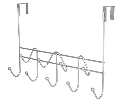 (ESYLIFE Hooks Over the Door Hook Organizer Rack Hanging Towel Rack Over Door, 9 Hooks, Chrome Finish )