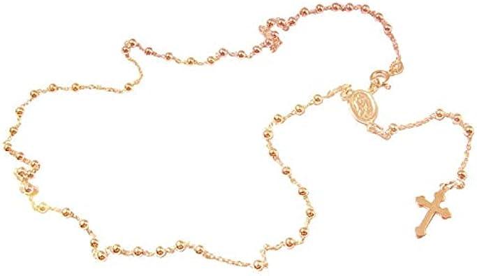Sinfonie - Collar para hombre y mujer, rosario, gargantilla de plata 925, modelo clásico, perlas negras con cruz e icono plateado, perfecto para él y para ella