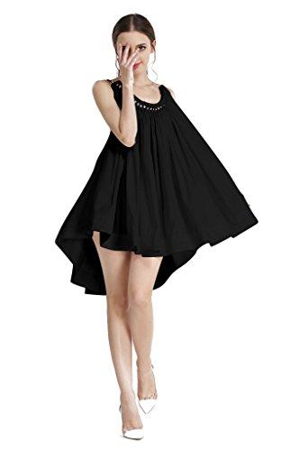 Sexy Masquerade Dress (AEETE Women's Sexy Strap Pleated Masquerade Cocktail Party Mini Dress Black)