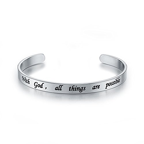 6mm Silver With God All Things Are Possible Stainless Steel Cuff Bangle Bracelet