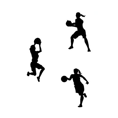 DNVEN (9 w X 12 h X 3pcs Set of 3 Women Girls Basketball Player Silhouette Girls Room Removable Wall Decals Stickers Decors