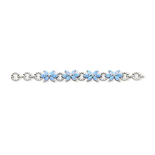Icecarats Créatrice De Bijoux Sterling 7.5Inch Bleu Argenté Opalin Créé Fleur Bracelet En 7,5 Pouces