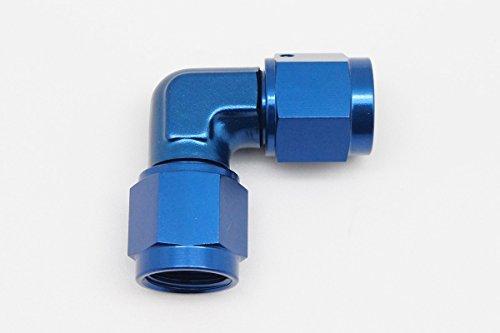 Autobahn88 Aluminum Fuel Fitting - 90 Degree Female to Female AN Swivel, 6AN, Blue (Female Aluminum Coupler)