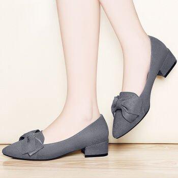 KHSKX-Im Frühjahr Neue Stil Casual Frauen Schuhe Mit Flachem Absatz Und Fliege gray