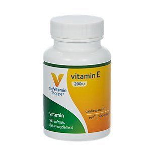 Vitamin E 200IU Natural Source, Supports Healthy Cardiovascular System, Immune Health Eye Health Once Daily (100 Softgels) by The Vitamin Shoppe (Iu Natural E200)