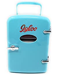Igloo Mini Beverage Refrigerator, Holds Up To 6 Cans, 4 Liter Capacity, Compact Portable Fridge, Retro Vintage Blue