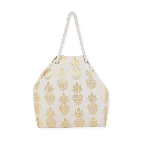 Gold Pineapple on Canvas Tote with Rope Handles - Gold White Sand