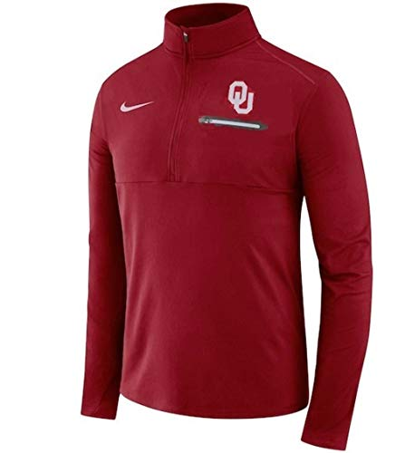 NIKE Men's Crimson Oklahoma Sooners Coaches Sideline 1/4 Zip Fleece Jacket Size Medium