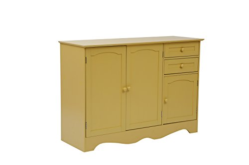 MULSH Wood Storage Cabinet Kitchen Buffet Unit Dinning Room Furniture with 3 Doors and 2 Drawers in Yellow, (Low Country Sideboard)