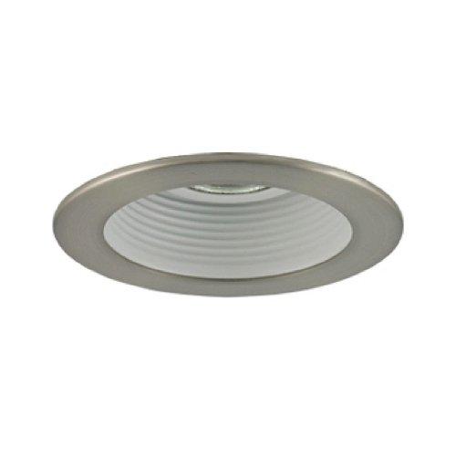 White Finish With Satin Chrome Trim Jesco Lighting TM201WHST 2-Inch Aperture Line Voltage Trim Recessed Light Step Baffle