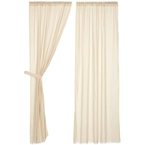 VHC Brands Coastal Farmhouse Window Tobacco Cloth White Fringed Curtain Panel Pair, of of King, Natural]()