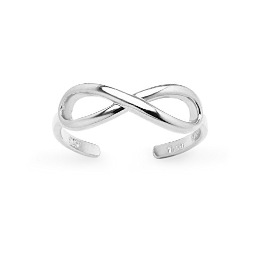Sterling Silver Polished Figure Eight Infinity Adjustable Toe Ring