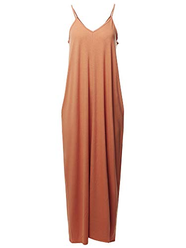 Casual Premium Adjustable Strap Side Pocket Loose Maxi Dress Camel 2X